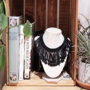 Zara Black Jeweled Statement Necklace
